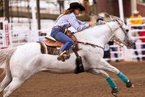 Ladies Barrel Racing at the rodeo von Joel Morin