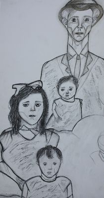 Charcoal Sketch, Family Portrait  von Christina Rodriguez