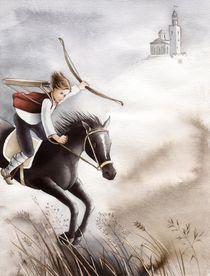 Schwarzes Pferd mit Reiter by Denitza Gruber