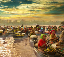 Morning at Floating Market von Randy Rakhmadany