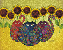 Cats With Sunflowers by Sandra Vargas