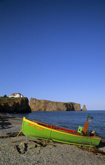 Fishing Boat on Beach, Perce, Quebec by Wolfgang Kaehler