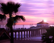 California Manhattan Beach Pier At Sunset by Lennox Foster