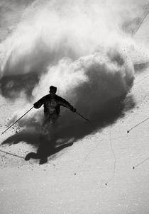 Skier turning off piste.