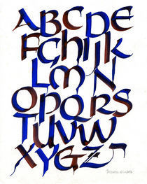 Uncial Alphabet in Red and Blue by Deborah Willard