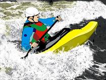 White Water. Yelow Kayak. by Phill Evans