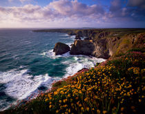 Carnewas and Bedruthan Steps, Cornwall, England.