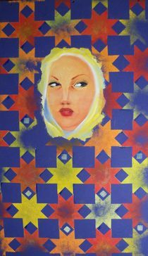 Tete au milieu des motifs by NourYas Arts
