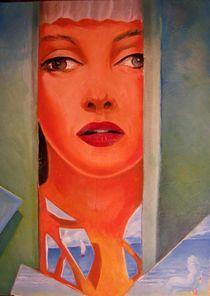 femme derriere la fenetre by NourYas Arts