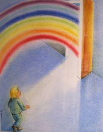 enfant et arc en ciel von NourYas Arts