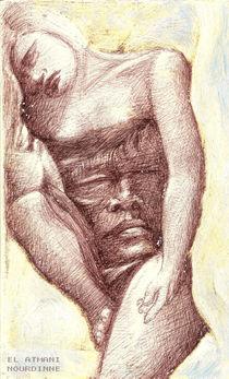 Femme endormie avec visage von NourYas Arts