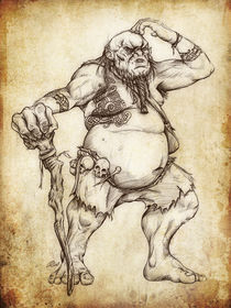 Fantasy Sketch - Mountain Troll von Christian Damm