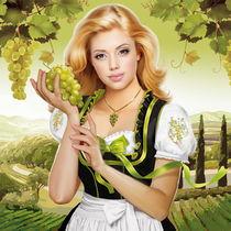 Woman with grape by Tanya Doronina