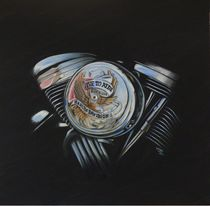 Motorrad Motorblock Harley Davidson Ölgemälde von Silvana Czech