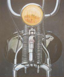 Motorrad Harley Springergabel Ölgemälde v S Czech by Silvana Czech