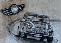 Auto Mini Cooper  Kohlezeichnung von Silvana Czech