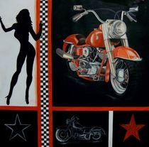 Ölgemälde Motorrad mit Akt von Silvana Czech
