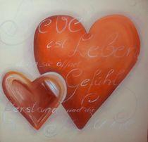 Herzbild mit Liebesspruch Liebe ist Leben  von Silvana Czech