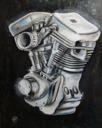 V Motorblock Motorrad Custombike Gemälde v. Czech von Silvana Czech