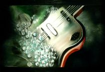 E- Gitarre Instrument Ölgemälde Strong Energie von Silvana Czech