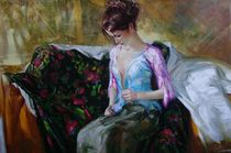 The Lady buttoned up the blouse by Sergey Ignatenko