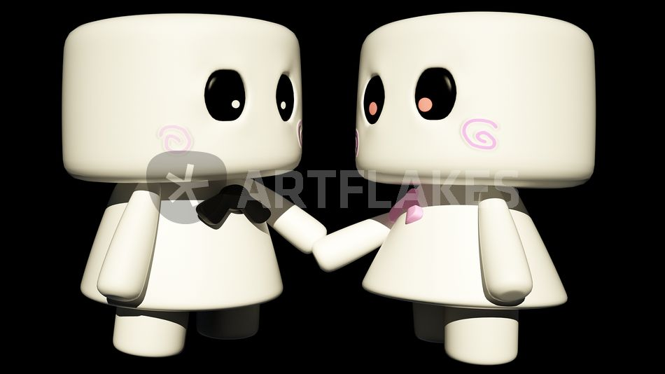 Marshmallow Couple Digital Art Prints And Posters By Kevin