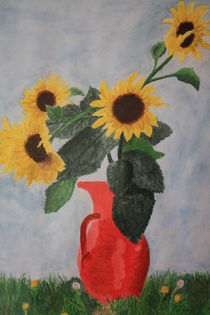 sunflowers vase poster sunflowers vase kunstdrucke online kaufen artflakes com. Black Bedroom Furniture Sets. Home Design Ideas