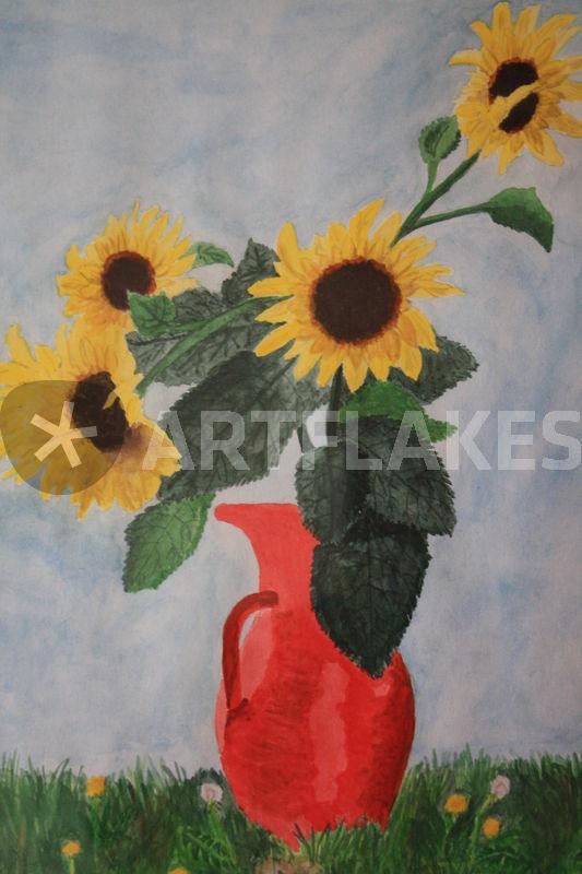 sonnenblumen in roter vase malerei als poster und kunstdruck von gerhard bubich bestellen. Black Bedroom Furniture Sets. Home Design Ideas