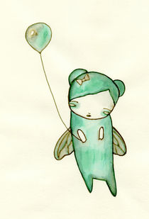 Little Green Fairy with Balloon von Lindsey Cormier