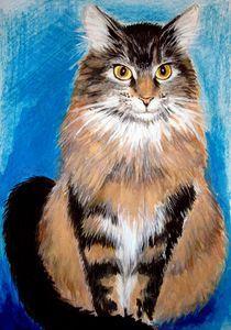 Katzenportrait in Mischtechnik von Daciana Lucia Deufel