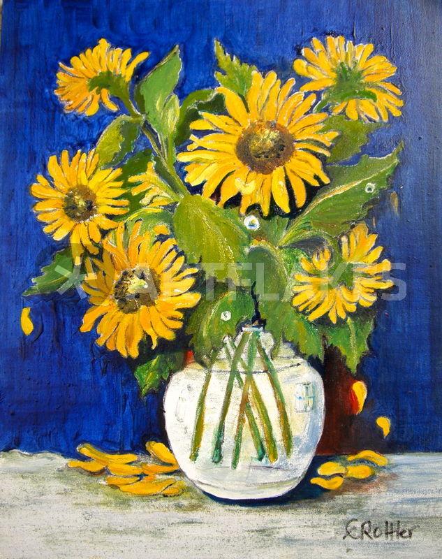 blumen und pflanzen sonnenblumen malerei als poster und kunstdruck von eleonore rottler. Black Bedroom Furniture Sets. Home Design Ideas