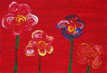 Blumen auf rot von Anke Platow