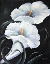 Weiße Calla - Blumenbilder schwarzweiß by Marita Zacharias