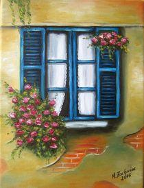 Blaues Blumenfenster von Marita Zacharias