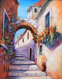 Romantische Gasse - Mediterrane Malerei von Marita Zacharias