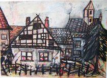 Fachwerkhäuser mit Kirche im Erzgebirge von Michael Thomas Sachs