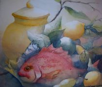 Stillleben mit Fisch und Zitrone von Stefanie Ihlefeldt