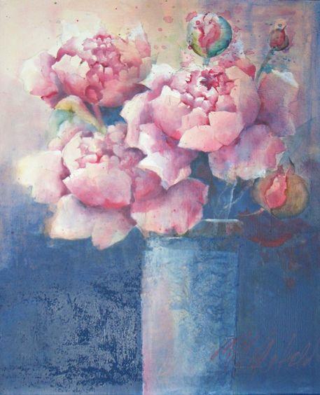 rosa pfingstrosen in blauer vase malerei als poster und kunstdruck von stefanie ihlefeldt. Black Bedroom Furniture Sets. Home Design Ideas