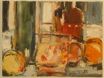 Stillleben mit Apfel und Orange by Brigitte Eckl