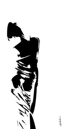 Akt mit Tuch, schwarzweiß von Gabriel Bur