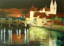 83_Regensburg bei Nacht von Hildegunde Riemann