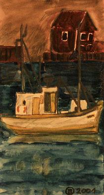 Fischerboot auf den Lovoten von Birgit Oehmig