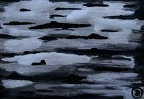 vereister Fluss im Mondlicht von Birgit Oehmig