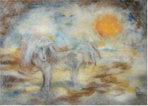 Einhorn Wollebild von Birgit Albert