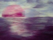 Sonnenuntergang Wollbild von Birgit Albert