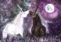 Einhörner Unicorns Aquarell by lona-azur