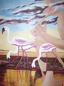Frau mit Flamingos by Hannelore Pritzl