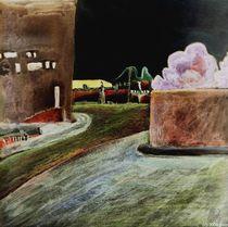 Stadt mit Fliederbusch von Gerhard Walcker-Mayer