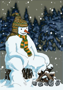 Snowman Campfire by Phill Evans