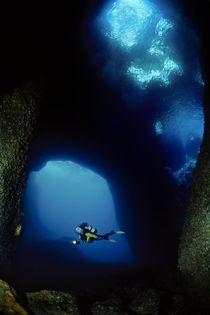 Blue Windows, Cave, diver, Ibiza von Norbert Probst